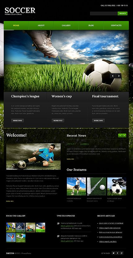Wordpress #Soccer School theme. $67 | Web | Pinterest | Fútbol y Deporte