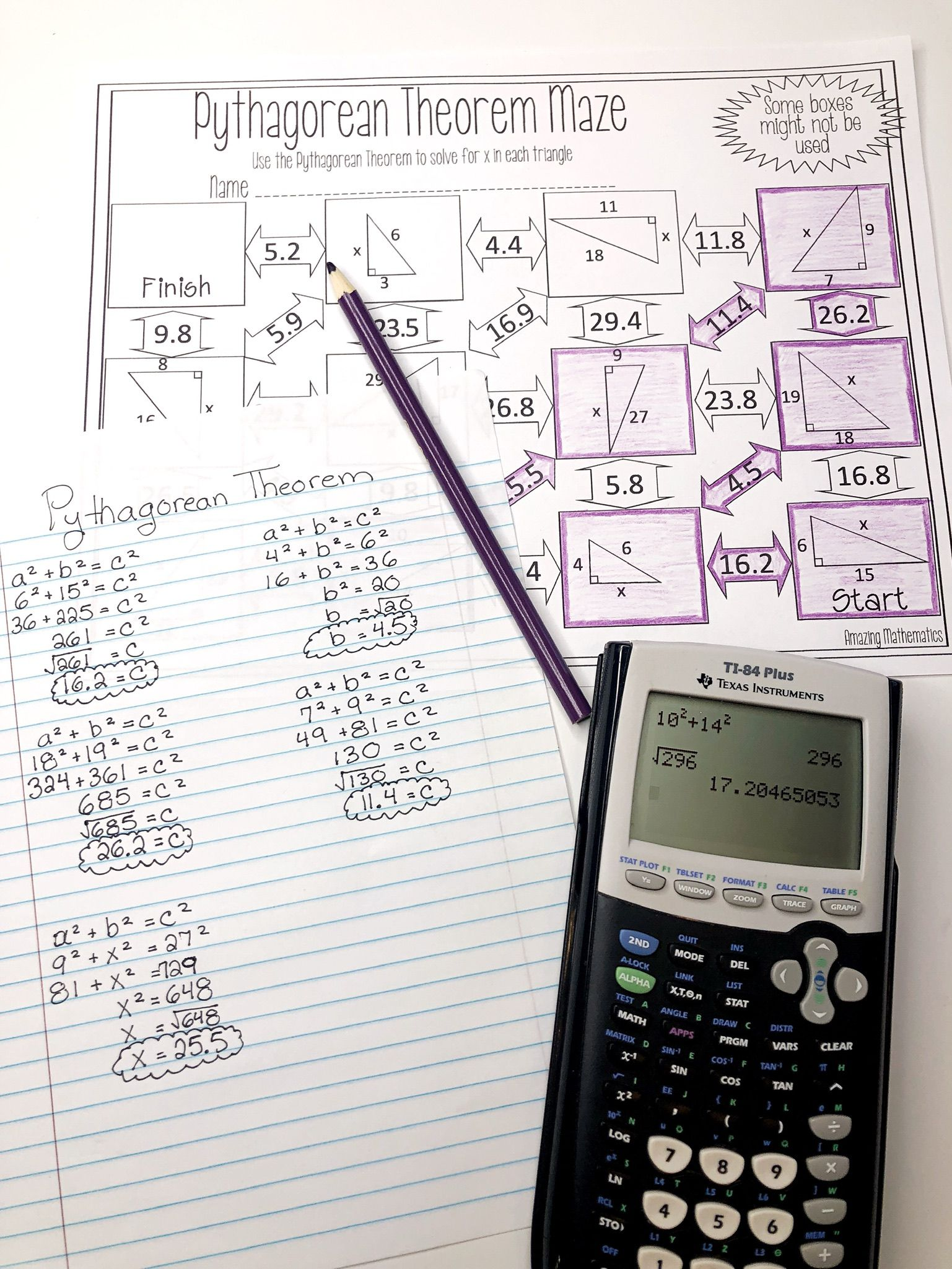 Pythagorean Theorem Worksheet Maze Activity Geometry Worksheets Pythagorean Theorem Theorems