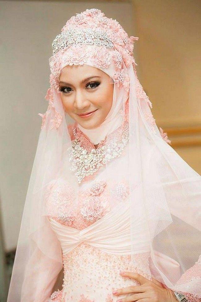 Latest Trend Pink Wedding Dress Arabic Bridal Gowns
