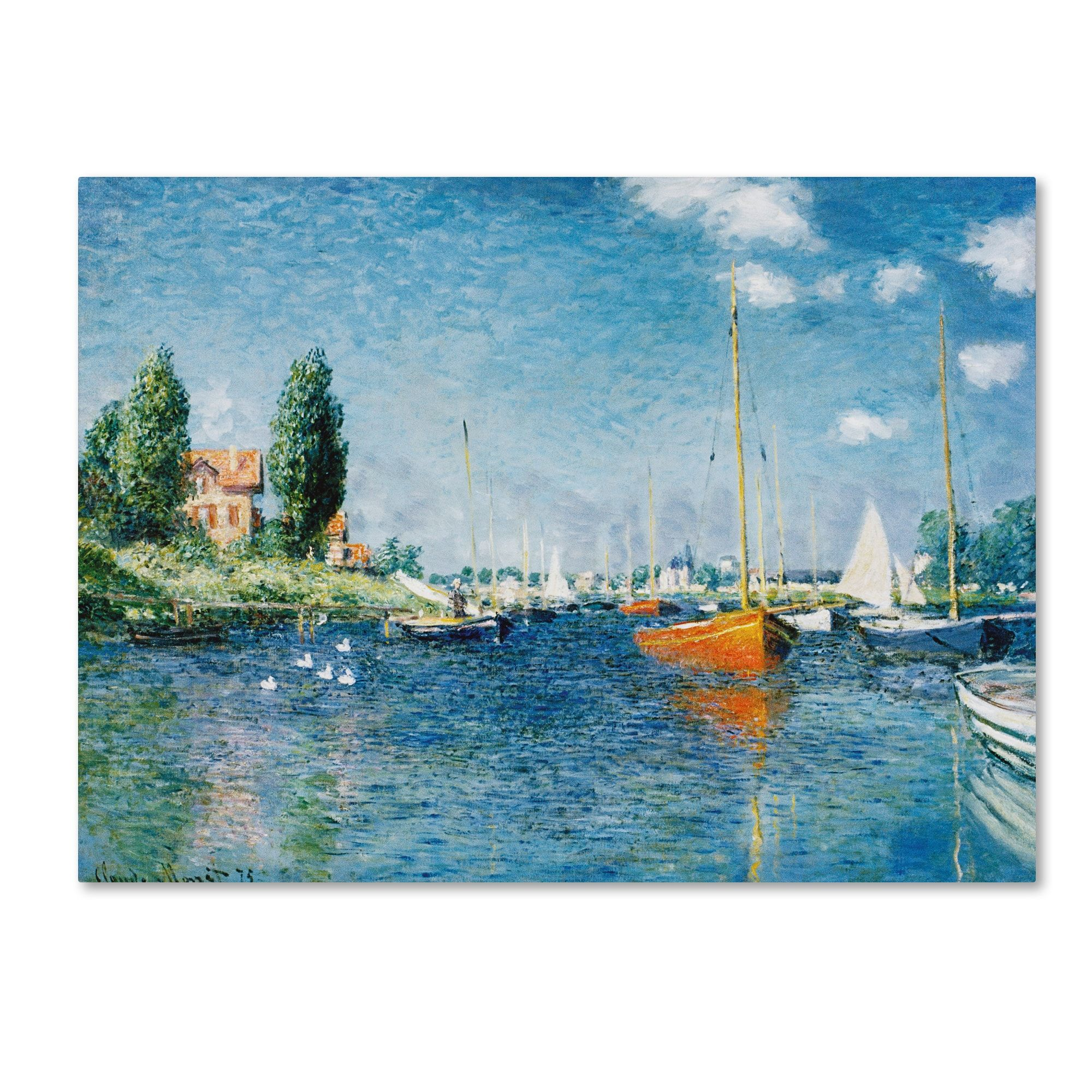 Claude Monet \'Red Boats at Argenteuil\' Canvas Art (14x19), Trademark ...