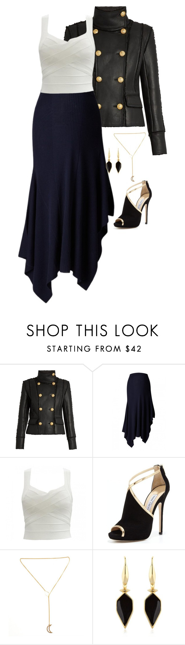 """""""Untitled #687"""" by tapping-raven ❤ liked on Polyvore featuring Balmain, Jimmy Choo and Isabel Marant"""