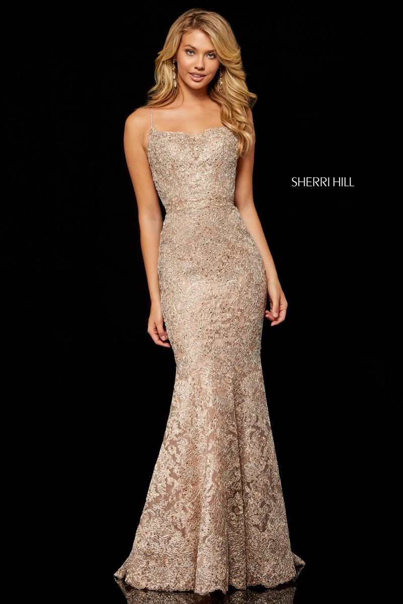 6c90e1d94f Size 2 Rose Gold-Silver--Sherri Hill 52348 is a metallic lace mermaid gown  with spaghetti straps and an open lace up back.