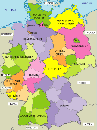German States Geography Pinterest Geography Ireland And - Germany map states