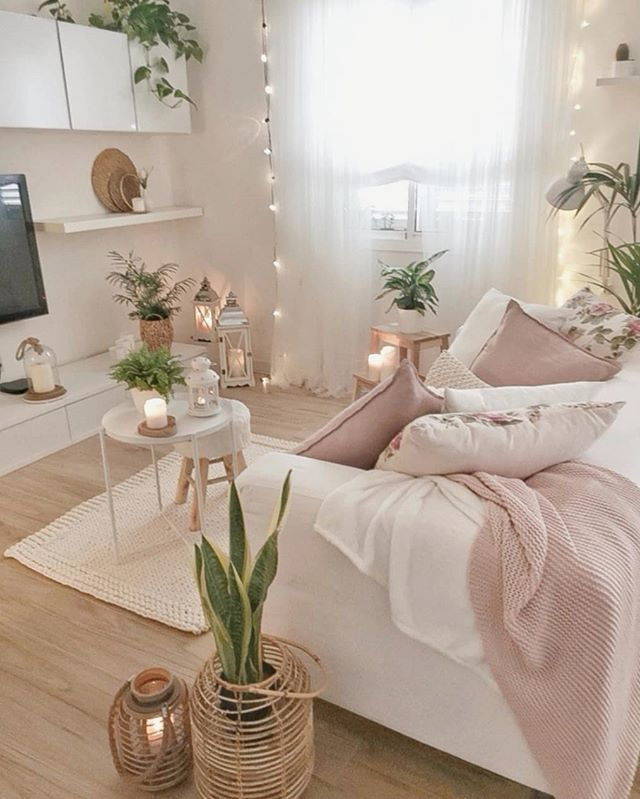 A Combination Of Baby Pink Beige White And Green Is Such An Elegant One For Home Decor By Sandrad Room Ideas Bedroom Room Decor Living Room Decor
