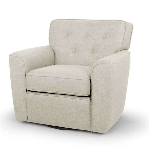 Canberra Modern Retro Contemporary Beige Fabric Upholstered Button-tufted Swivel Glider Lounge Chair with Arms  sc 1 st  Pinterest & Canberra Modern Retro Contemporary Beige Fabric Upholstered Button ... islam-shia.org