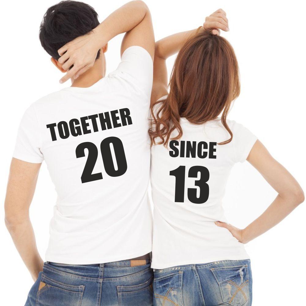lot de 2 t shirts pour amoureux personnaliser together. Black Bedroom Furniture Sets. Home Design Ideas
