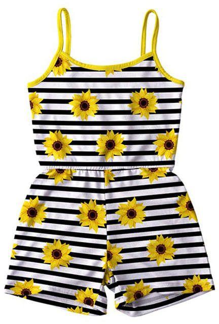 Black Amp White Stripe Amp Sunflower Romper Toddler Amp Girls