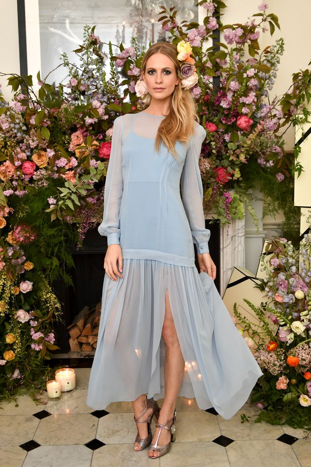 Poppy Delevingne in a light blue chiffon dress at The Blossoms Ball