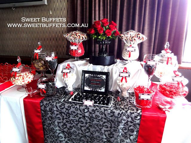Red Black And White Engagement Party Lolly Buffet White