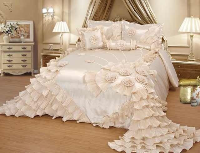 Cream Wedding Bedding Oversize Comforter Bedspread Quilts Set Queen Or King Wedding Bed Luxury Bedding Bed Comforters