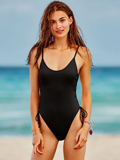 Lace Up Side One Piece Pink Victoria S Secret Giftryapp One Piece Swimsuits Swimsuit Bathing Suit