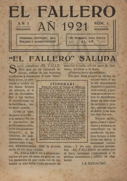 El Fallero : periòdic festero, buñolero y sandunquero: Anyo 1921, N. 1