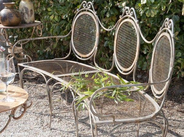 Ancien Banc En Fer Forge Jardin En Carre Salon De Jardin