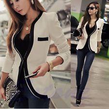 Moda Mujer Blanco Negro Colores Traje Chaqueta Abrigo Slim Saco Abrigos Nuevo