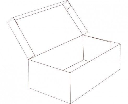 Hinged lid shoe box shape Free box templates to download, print