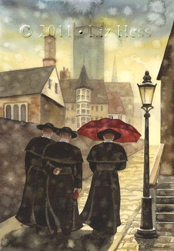 """The Three Vicars"" Red Umbrella Paintings | Liz Hess Gallery"