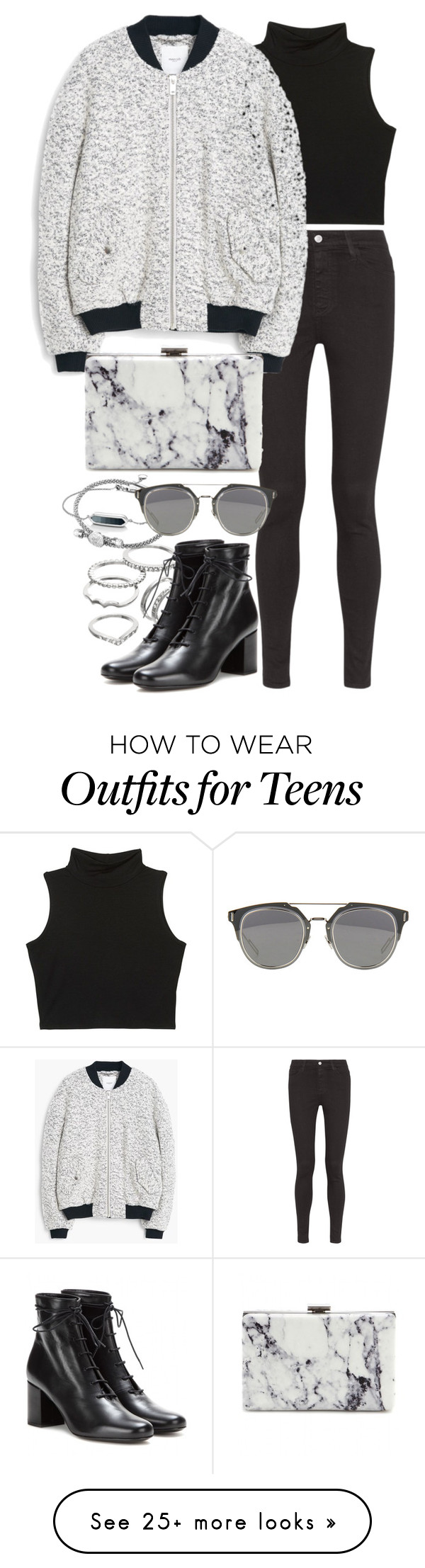 """""""Untitled #7782"""" by nikka-phillips on Polyvore featuring AG Adriano Goldschmied, Apt. 9, Links of London, Monica Vinader, MANGO, Yves Saint Laurent and Balenciaga"""