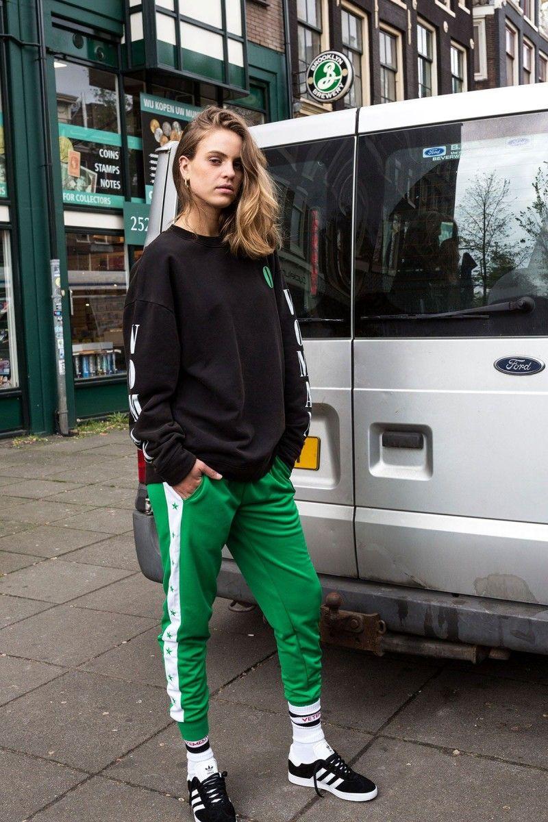 premium selection d685f f42da How to wear  Le Cafe Noir Studio  track pants in 3 different ways. -  Sweatshirt Off-White, Socks Vetements, Shoes Adidas.