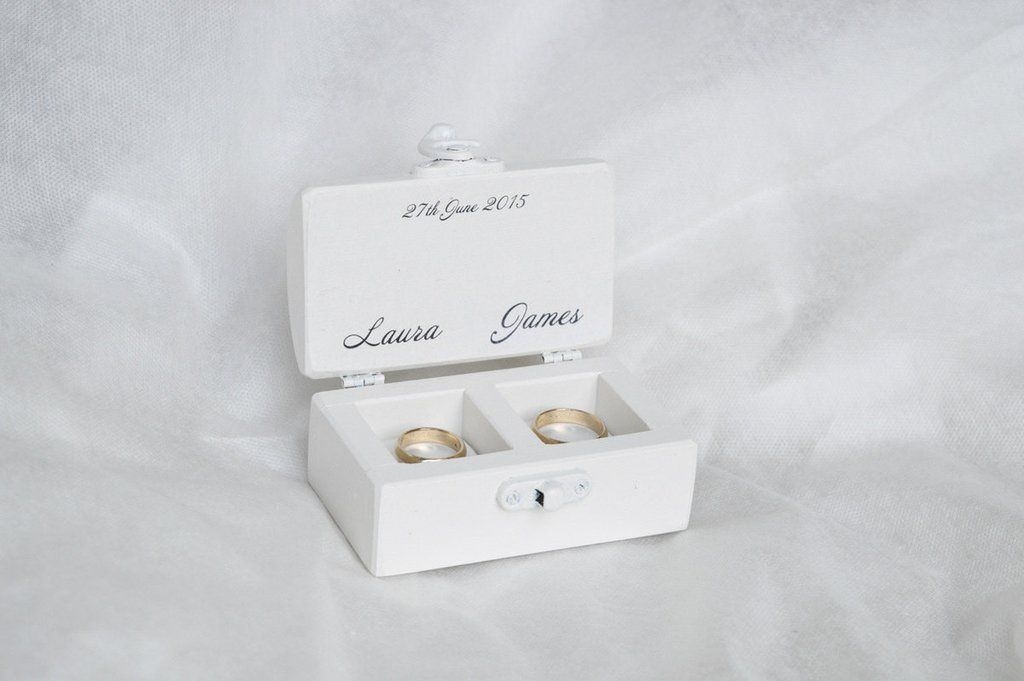 White Wedding Ring Box Personalized Double Ring Box Wedding Ring