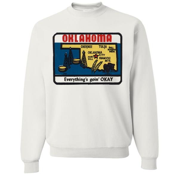 Vintage State Sticker Oklahoma Crewneck Sweatshirt - California Republic Clothes