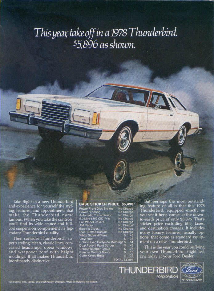 Ford Thunderbird Take Off This Year Ad 1978 Ford Thunderbird Thunderbird Car Ford Classic Cars