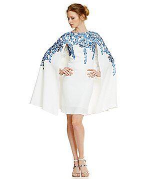 Tadashi Shoji Floral Embroidery Cape Dress