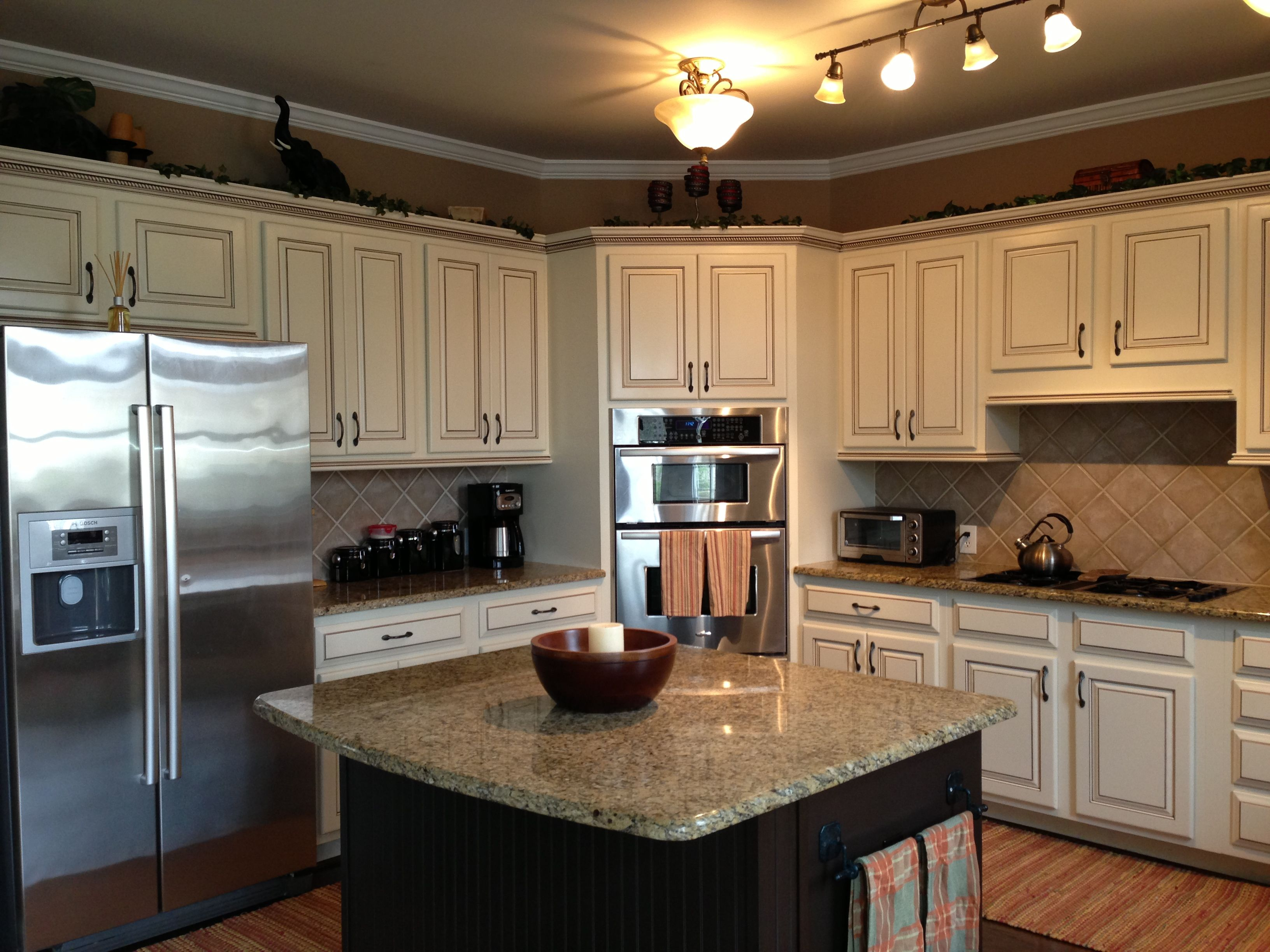 My Dream Kitchen At Last Painted Maple Cabinets Antique White Almond Added Light Rail At The Bot Kitchen Decor Walmart Kitchen Decor Brown Kitchen Cabinets