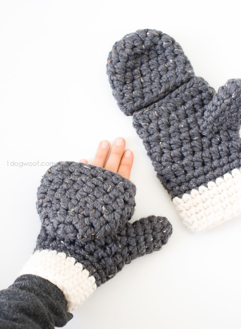 Mens gloves with mitten flap - Millbrook Chunky Mittens