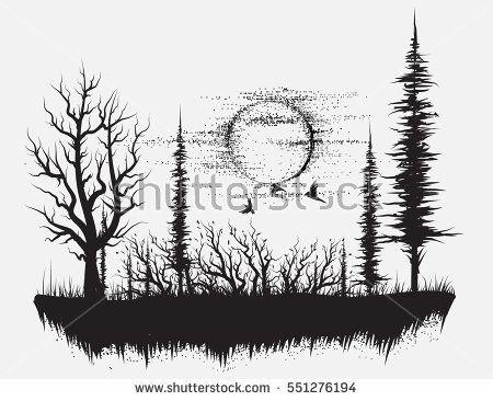 Strange Forestsilhouetteof Trees Hand Drawn Vector Illustration