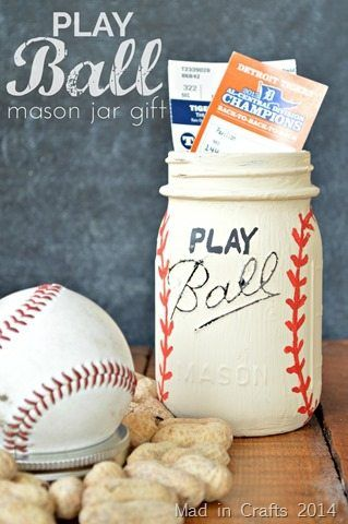 PLAY BALL Mason Jar Gift - Mad in Crafts