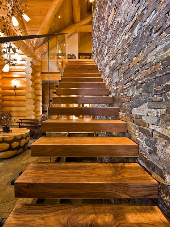 floating stairs in montana cabin home lust rh pinterest com