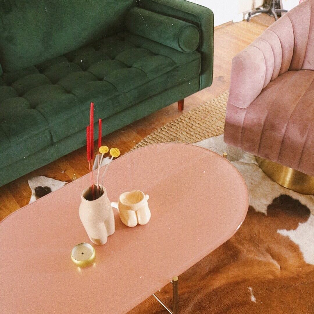Silicus Pink Oblong Coffee Table Coffee Table Painted Coffee Tables Mid Century Coffee Table [ 1080 x 1080 Pixel ]