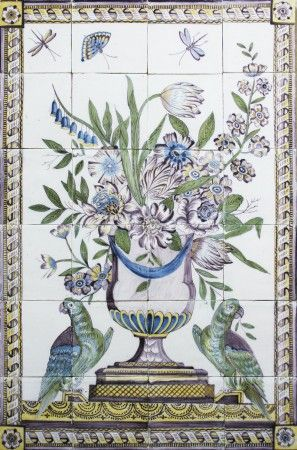 Antique Dutch Delft tile mural with a polychrome flower vase and two ...