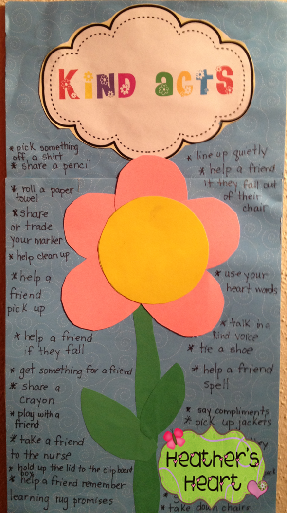 Make a list of kind and help acts students can do. The Kindness Recorder can add a flower for noticing these acts in the classroom.