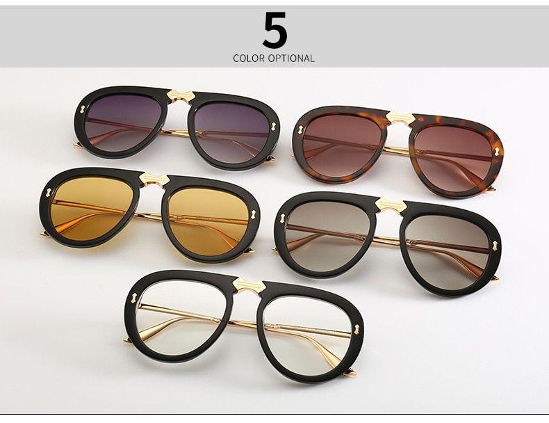 95d552ec3994 2019 Fashion Modern Pilot Style Rivets Sunglasses Women Classic Vintage Brand  Design Sun Glasses Oculos De