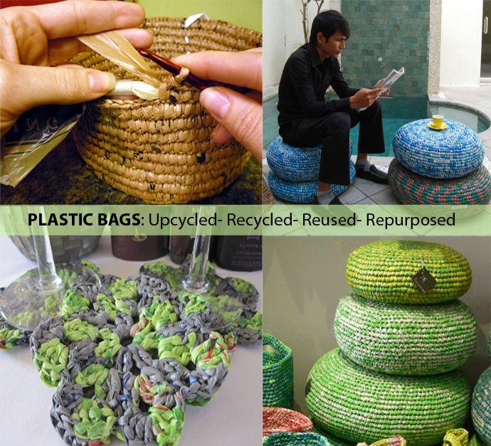 die besten 25 recycelte kunststoffbeutel ideen auf pinterest plastikbeutel h keln. Black Bedroom Furniture Sets. Home Design Ideas