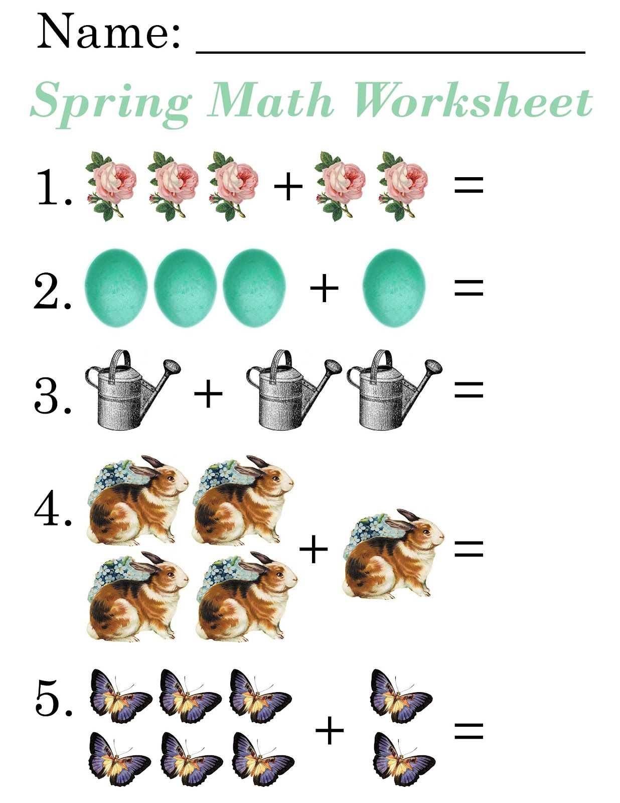 Lilac Lavender Kids Spring Math Worksheets – Free Printable Worksheets for Kindergarten Math