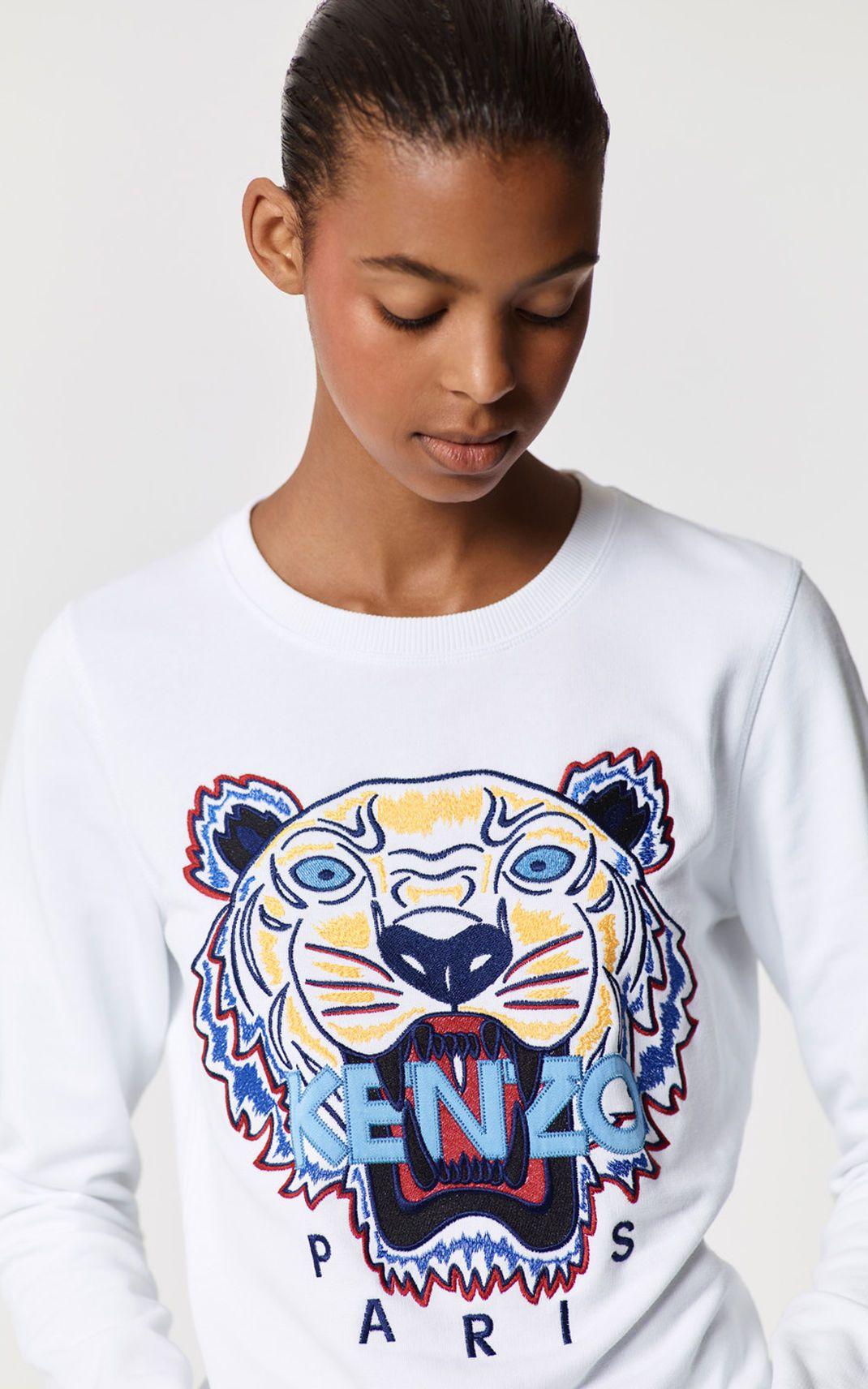 White Tiger Sweatshirt For Women Kenzo Tiger Sweatshirt Women Sweatshirts [ 1712 x 1070 Pixel ]