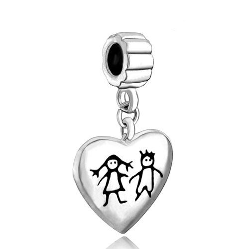 Pugster Heart Mother Son Family Dangle Spacer Bead Fits Pandora Charms Bracelet Sn31DBUq6