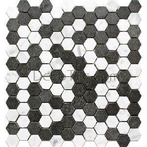 1 Inch Hexagon Honed White Carrara And Basalt Mosaic Tile Mosaic Tiles Bianco Carrara Basalt