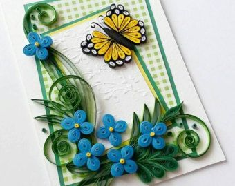 Handmade Greeting Card Quilling Birthday Card by Gericards