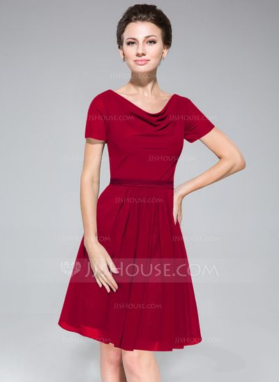 A-Line/Princess Cowl Neck Knee-Length Chiffon Bridesmaid Dress With Ruffle (007050080)