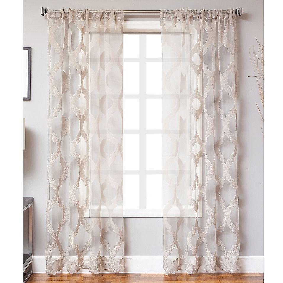 "Petra 108"" Rod Pocket Sheer Window Curtain Panel In Grey"