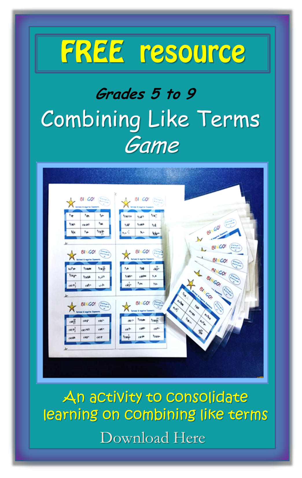 Combining Like Terms Free Bingo Activity
