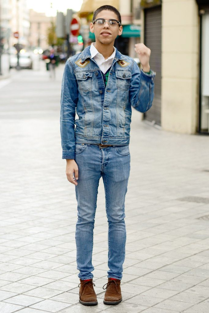 Shop this look on Lookastic: http://lookastic.com/men/looks/longsleeve-shirt-cardigan-denim-jacket-belt-skinny-jeans-socks-desert-boots/5628 — White Long Sleeve Shirt — Green Floral Cardigan — Blue Denim Jacket — Brown Leather Belt — Blue Skinny Jeans — Red Socks — Brown Suede Desert Boots