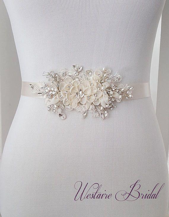 Floral Wedding Sash, Bridal Belt, Custom Wedding Belts and Sashes ...