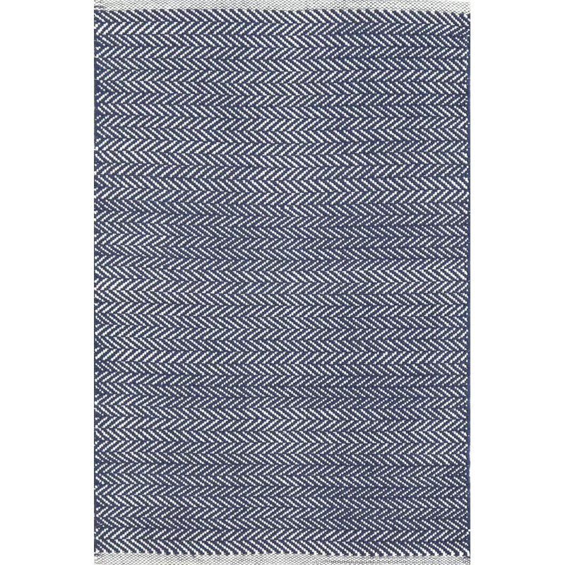 Herringbone Chevron Handmade Flatweave Cotton Indigo Area Rug In
