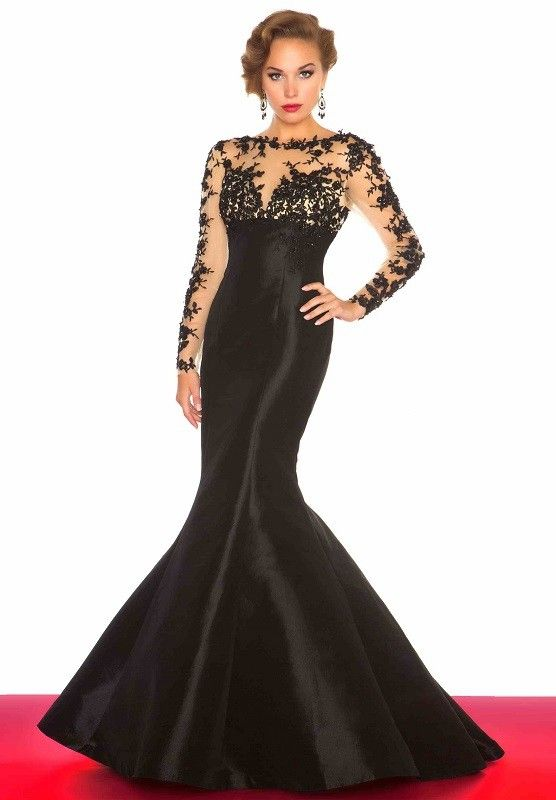 Trumpet/Mermaid Bateau Lace Long Sleeves Floor-Length Taffeta Prom ...