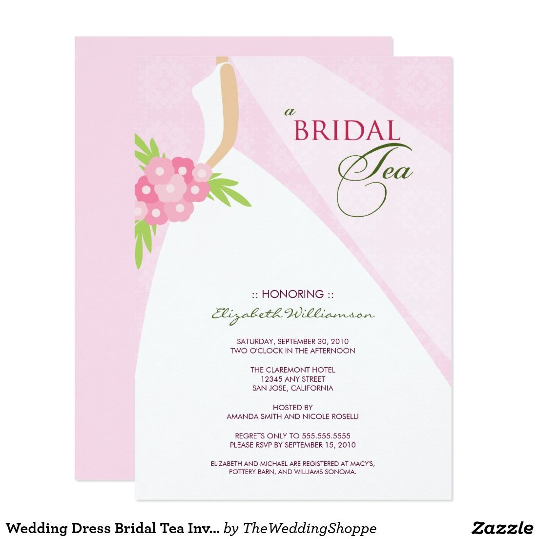 Wedding Dress Bridal Tea Invitation pink Tea Party Invitiation