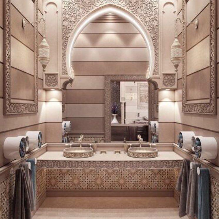الديكورات الشرقية في المنزل لها سحر خاص أعجبنا تصميم مغاسل الضيوف بالأقواس والفسيفساء ديكور مجلة هي Moroccan Interiors House Design Islamic Architecture